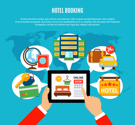 Hotel booking design concept with man hands holding tablet with online booking service page on screen, flat vector illustration