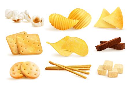 Gli spuntini salati hanno messo con le immagini isolate dei nacho, dei chip, dei biscotti e del popcorn su fondo in bianco, illustrazione di vettore Archivio Fotografico - 88324740