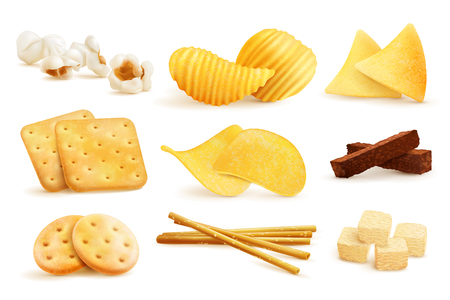 Salty snacks set with isolated images of nachos, chips, cookies and popcorn on blank background, vector illustration