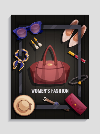 Colored women accessories, poster with womens fashion, headlines and hat, handbag, shoes cosmetics, vector illustration Illusztráció