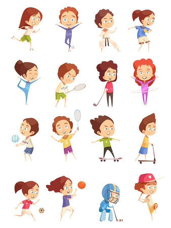 Kids sport, decorative icons set with colored cartoon figurines of cute children who are engaged in various sports, flat isolated vector illustration Stock Illustratie
