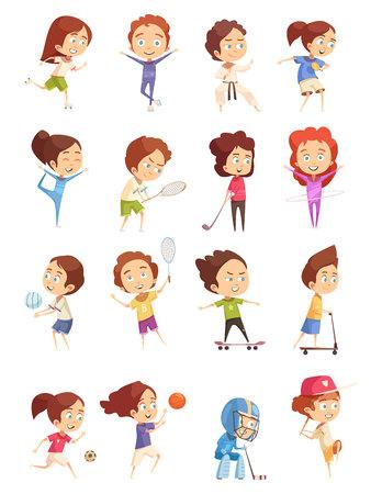 Sport enfants, icônes décoratifs sertie de figurines de dessin animé coloré d'enfants mignons qui sont engagés dans divers sports, illustration vectorielle plane isolé Banque d'images - 88354676