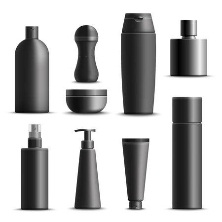 Set of realistic mens cosmetics in black packaging including cream, shampoo, deodorant, perfume, soap, isolated vector illustration Illustration