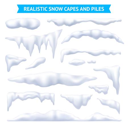 Sneeuw, witte capes en stapels realistische reeks, geïsoleerde vectorillustratie Stock Illustratie