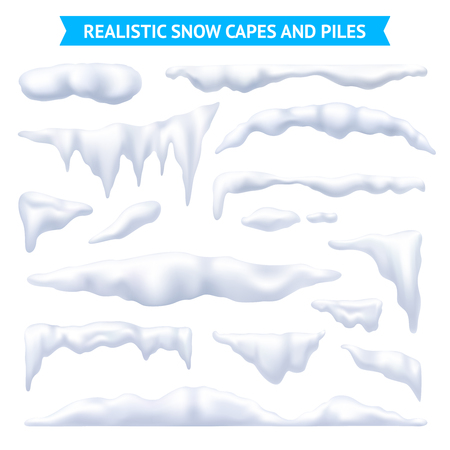 Snow, white capes and piles realistic set, isolated vector illustration