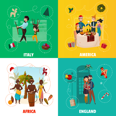 World christmas traditions concept with italian holiday, american festive table, african decorations, english gifts isolated vector illustration