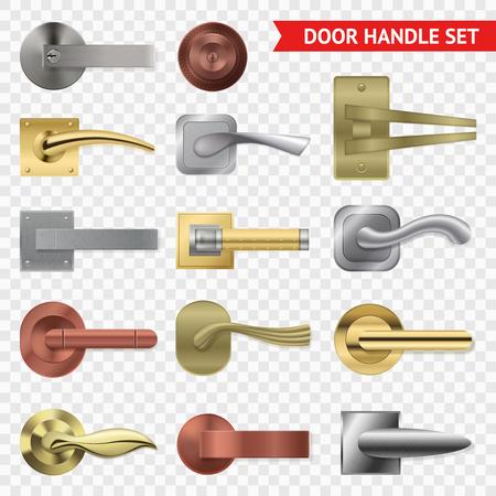 Realistische deurhandvat transparante reeks met geïsoleerde beelden van de hendels van de metaaldraai van verschillende vorm, vectorillustratie Stock Illustratie