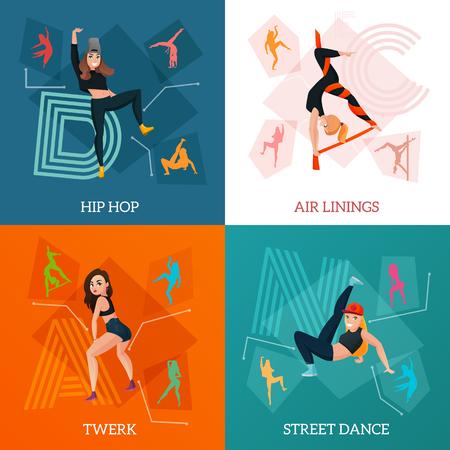 Het moderne dans typt concept met hiphop, luchtlinten, de bewegingen van de straatstijl, twerk geïsoleerde vectorillustratie Stock Illustratie