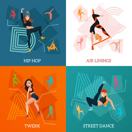 Het moderne dans typt concept met hiphop, luchtlinten, de bewegingen van de straatstijl, twerk geïsoleerde vectorillustratie Vector Illustratie