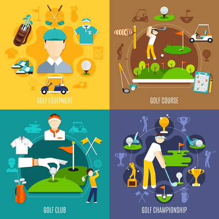 Golf game flat design concept with sports equipment, play field, club and competitions isolated vector illustration