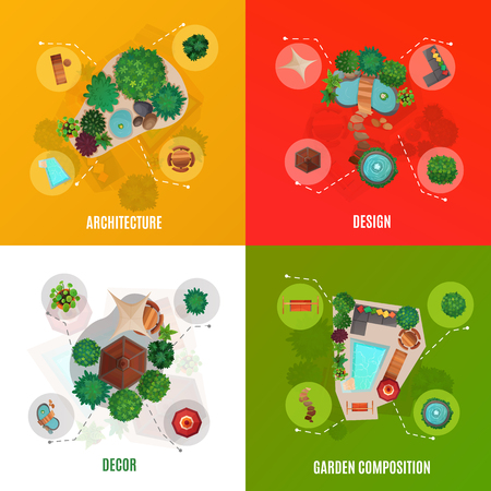 Landscape design concept, top view including courtyard architecture, decor and garden compositions, isolated vector illustration