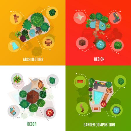 Concept de design de paysage, vue de dessus, y compris l'architecture de la cour, compositions de décoration et de jardin, illustration vectorielle isolé
