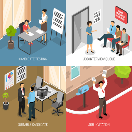Job interview design concept with images of receiving invitation letter and indoor office placement, testing vector illustration