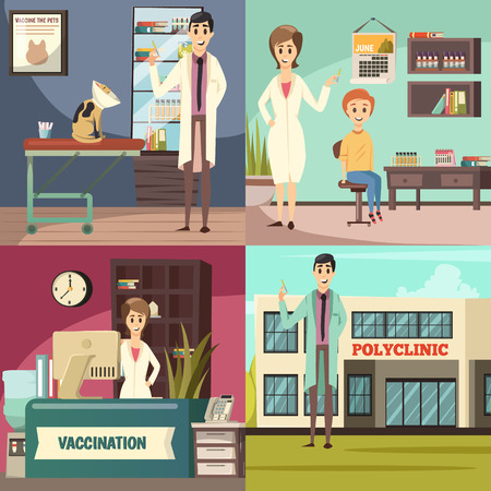 Compulsory mandatory vaccination, orthogonal icons concept square with pet in vet practice boy in, polyclinic vector illustration Ilustração