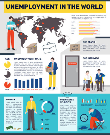 Unemployed people, flat infographics with images of redundant workers, colourful graphs, world map and editable text paragraphs, vector illustration