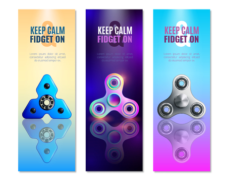 Three hand spinner toys, vertical banner set with different types of toy and big headlines, vector illustration