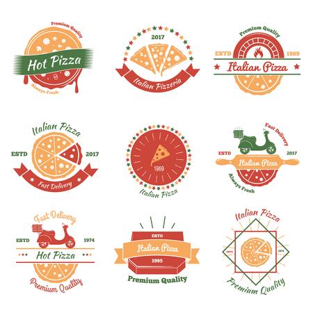 패스트 푸드 피자와 벡터 일러스트 레이 션에 대 한 9 개의 평면 이미지와 피자 빈티지 엠 블 럼 색 세트