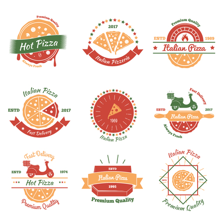 Pizza vintage emblems color set with nine flat isolated images for fast food pizzeria and delivery vector illustration