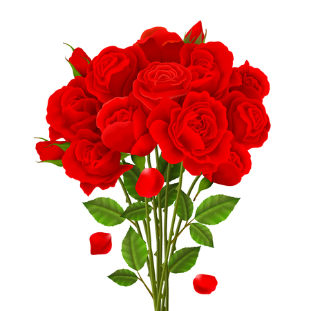 バラの花束, 赤い花と緑の葉、現実的なベクトル図