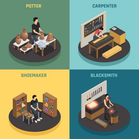 Craftsman professions 2x2 design concept with potter shoemaker carpenter blacksmith square icons isometric vector illustration