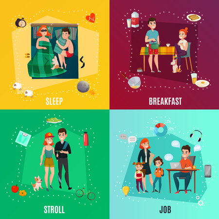 Couple in daily routine design concept including sleep, breakfast, stroll, job, infographic elements, isolated vector illustration