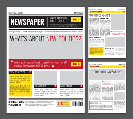 Daily newspaper colored template for website design with three page layout headlines quotes and text articles, flat vector illustration Çizim