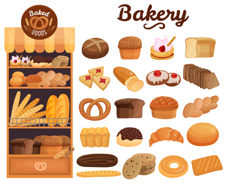 Set of bakery products on wooden shelves including bread, pie, cookies, buns, bagel, pretzel, isolated vector illustration
