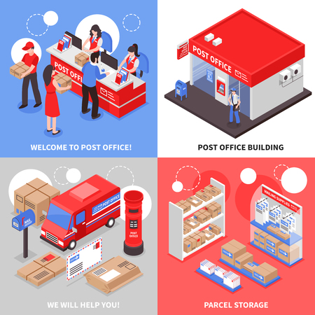 Post 2x2 isometric design concept post office building parcel storage transportation and point of correspondence delivery square icons vector illustration