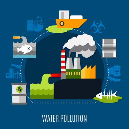 Water pollution concept with factory and waste symbols flat vector illustration Stock Vector - 87891600