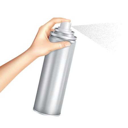 De handholding en het drukken onderaan pijp van aluminiumaerosol kan het bespuiten vloeibare deeltjes mist realistische vectorillustratie