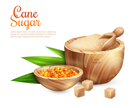 Cane sugar background with realistic images of wooden tub filled with granulated sugar and sweet candies, vector illustration Illustration