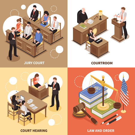 Law and order isometric design concept with jury court courtroom, court hearing square compositions, vector illustration
