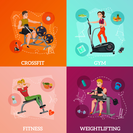 Exercise equipment concept with crossfit, gym for slimming, fitness and health nutrition, weightlifting, isolated vector illustration