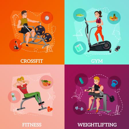 Het concept van het oefeningsmateriaal met crossfit, gymnastiek voor vermageringsdieet, fitness en gezondheidsvoeding, gewichtheffen, geïsoleerde vectorillustratie