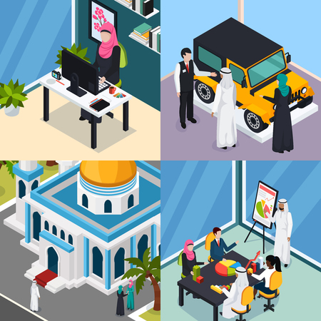 Saudi people isometric concept with arab muslims in office, during car purchase, near mosque isolated vector illustration