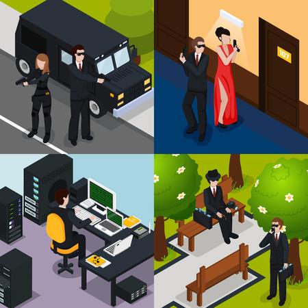 Speciaal agent isometrisch concept met actie in hotel, bescherming, spion op bank, professioneel materiaal, geïsoleerde vectorillustratie Stock Illustratie
