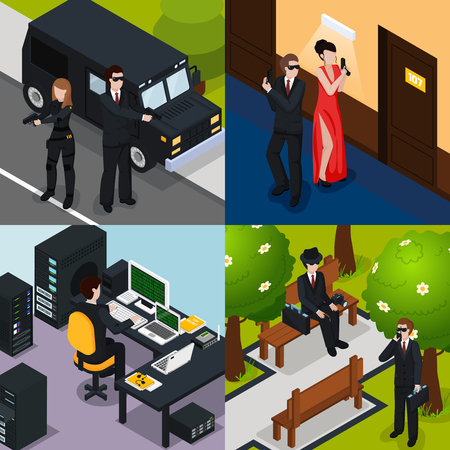 Special agent isometric concept with action in hotel, safeguard, spy on bench, professional equipment, isolated vector illustration