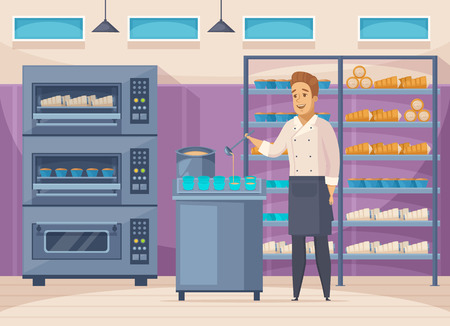 Confectionery factory cartoon composition with pastry cook filling cups with batter, shelves with sweets, ovens vector illustration