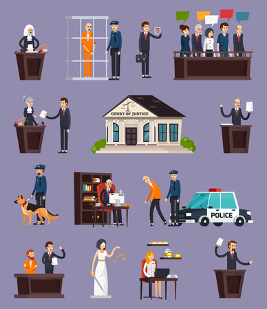 Law and justice orthogonal icons set with courthouse, defendant, police, jury on lilac background isolated vector illustration Иллюстрация