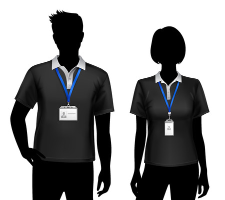 Black silhouettes of staff members man woman standing with blue lanyard id card badges holders vector illustration