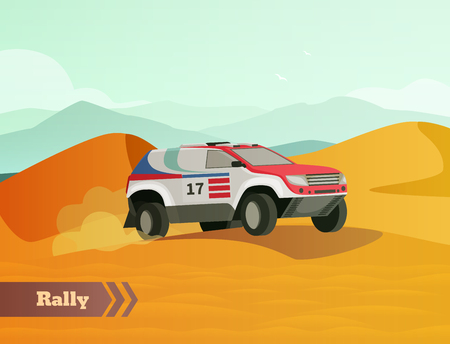 Racing flat composition with desert land scenery and doodle style image of range roving racing car vector illustration Çizim