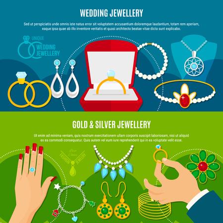 Horizontale Fahnen des Hochzeitsschmucks mit Gold- und Silberdekorationen einschließlich Verlobungsringen, Diadem, Ohrringe lokalisierten Vektorillustration Standard-Bild - 88130480