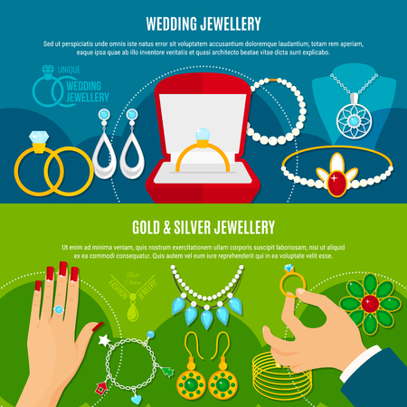 Wedding jewelry horizontal banners with gold and silver decorations including engagement rings, diadem, earrings isolated vector illustration