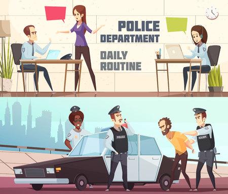 Polizeidienststelle und Szene des Täters halten die horizontalen Fahnen fest, die den Arbeitsprozess des Personals im Büro und in der Vektorillustration im Freien beschreiben Standard-Bild - 88130634
