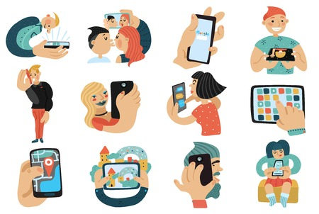 video call: Set of people with mobile phones during calls, video chat, game, selfie, internet search isolated vector illustration