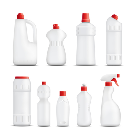 Detergent bottles realistic set of isolated plastic packaging of different shape for cleaning substances without labels vector illustration Illustration