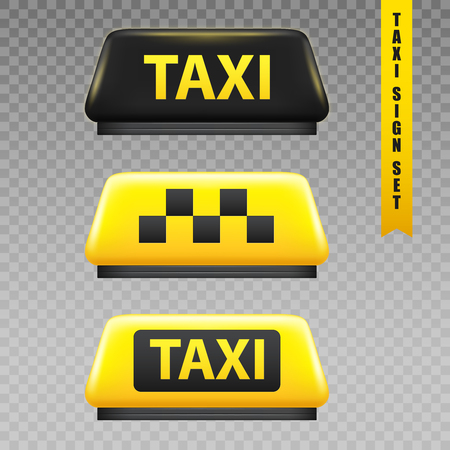 Taxi yellow sign transparent set realistic isolated vector illustration