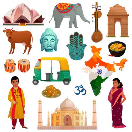다양 한 기호 명소 및 흰색 배경에 고립 된 인도 여행 집합의 국가 의상 만화 벡터 일러스트 레이 션