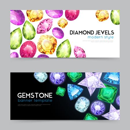 Two horizontal gemstones diamond jewels banner set with diamond jewels modern style and gemstone headlines vector illustration