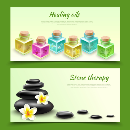 Spa realistic horizontal banners with healing oil phials and black stones for massage procedure vector illustration